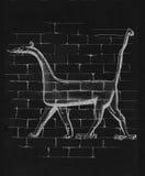 Drake från den Ishtar porten av Babylon, frihandsteckning royaltyfri illustrationer