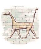 Drake från den Ishtar porten av Babylon, frihandsteckning stock illustrationer
