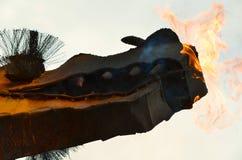 Drake med brand arkivbilder