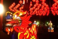 Drake och lykta som hänger för kinesisk beröm för nytt år Arkivbild