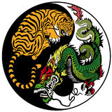 Drake- och tigeryin yang royaltyfri illustrationer