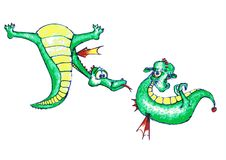 Drake-pojke som uppvaktar en gullig drake-flicka Royaltyfria Foton