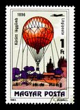 Drakeballong, 1896, 200 år av serie för Manned flyg, circa 1983 Royaltyfri Fotografi