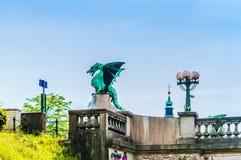 Drakebro i Ljubljana - Slovenien royaltyfri fotografi