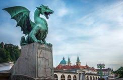 Drakebro Zmajski mest, symbol av Ljubljana, huvudstad av S Arkivfoto