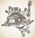 drakedrawhanden skissar unikt Arkivbilder