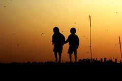 Drakefestival/Uttrayan/Makar sankranti gujarat, Indien Royaltyfri Foto