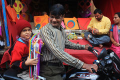 Drakefestival/Uttrayan/Makar sankranti gujarat, Indien Arkivfoton
