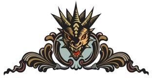 Drakehuvud, tatuering Arkivbilder