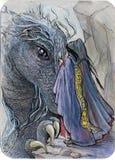 drakemötetrollkarl stock illustrationer