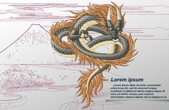 Draken är fantasidjuret i tecknad filmstil vektor illustrationer
