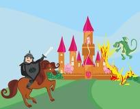 Draken anfaller slotten royaltyfri illustrationer