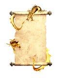 Draken en rol van oud perkament Royalty-vrije Stock Foto