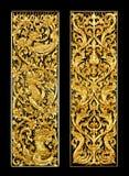 Draken med ormbilder snider konstnärligt från thailändsk målning & l royaltyfria foton