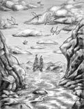 Draken over het overzees stock illustratie
