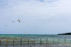 Draken surfar avlägset surfa ut Arkivbild