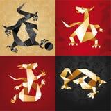 draken vek origamipappersseten Arkivfoton