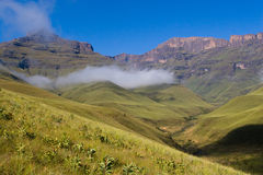 Drakensberg clouds. A landscape scene in the drakensberg mountains, south africa Stock Photography