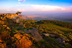Drakensberg landscape. View over the escarpment at dusk in Drakensberg Mountains, South Africa Stock Photography