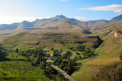 Drakensberg landscape. A rest camp in Golden Gate National Park, South Africa,  photographed from below Stock Photos