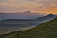 Drakensberg, South Africa view of the mountains during sunset Stock Photography