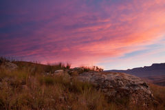 Drakensberg sunset Stock Photo
