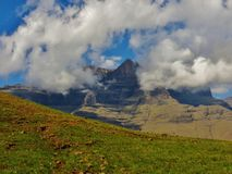 The Drakensberg Wilderness. My hiking Paradise, the Drakensberg Wilderness. As Mother Nature wraps the mountains in a robe of white, and the silence is Golden Royalty Free Stock Photos