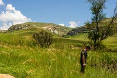 Drakensburg山的山麓小丘 库存图片