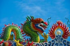 Drakeskulptur på den kinesiska templet royaltyfri fotografi