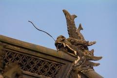 Drakeskulpturer på kinesiska tak Royaltyfri Fotografi