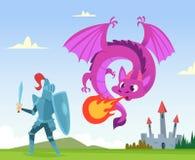 Drakestridighet Lösa sagafantasivarelser som är amfibiska med vingar, rockerar attack med stor flammavektorbakgrund stock illustrationer