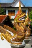 Drakevaktstaty på ingången för buddistisk tempel Royaltyfri Fotografi