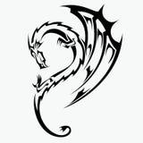 Drakevektorillustration för tatueringdesign stock illustrationer