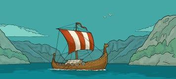 Drakkar που επιπλέει στο φιορδ στη Νορβηγία Εκλεκτής ποιότητας χάραξη χρώματος απεικόνιση αποθεμάτων