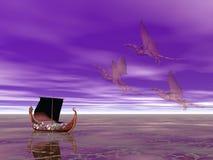 drakkar σκάφος δράκων Στοκ Εικόνες