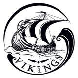 Drakkar, boat Viking, vintage sailing warship Stock Photos