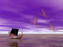 Drakkar Dragon Ship. Viking dragon ship followed by three ghostly dragons Stock Photo