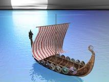 Drakkar en el mar Foto de archivo libre de regalías