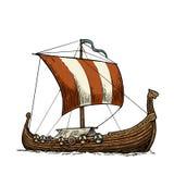 Drakkar floating on the sea waves. royalty free illustration