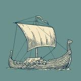Drakkar floating on the sea waves.  Hand drawn design element sailing ship Stock Photo