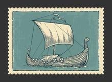 Drakkar floating on the sea waves.  Hand drawn design element sailing ship. Vintage vector engraving illustration for Royalty Free Stock Photography