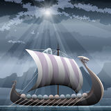 Drakkar. Illustration with viking ship in the fjord against northern mountain seascape Stock Photo