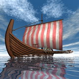 Drakkar or viking ship - 3D render Royalty Free Stock Photos