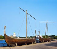 Drakkar on the waterfront in Vyborg Royalty Free Stock Photo