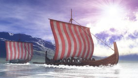 Drakkars - 3D render. Drakkars on the water next to the coast by day - 3D render Royalty Free Stock Images