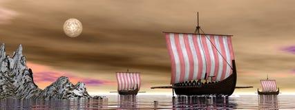 Drakkars o naves de vikingo - 3D rinden Fotos de archivo