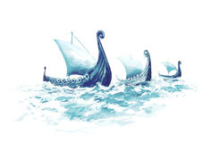 Drakkars, Viking ships Royalty Free Stock Images