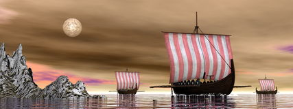 Drakkars or viking ships - 3D render Stock Photos