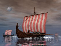 Drakkars or viking ships - 3D render Royalty Free Stock Photos
