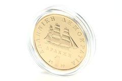 1 drakma guld- mynt Arkivfoton